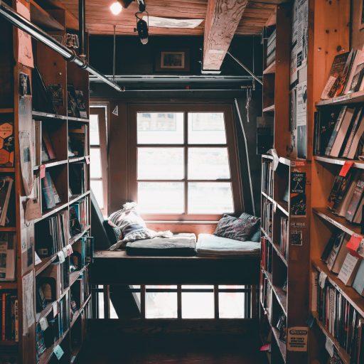 De ultieme droom ... een bibliotheek vol boeken en een plekje bij het raam vol zachte kussen!